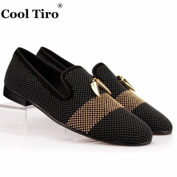 COOL TIRO Strass Rhinestones Men Loafers Black Suede Shark teeth Tassel