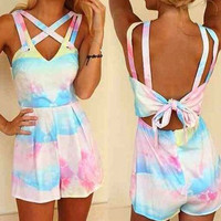 Strappy Tie-Dyed V-Neck Romper