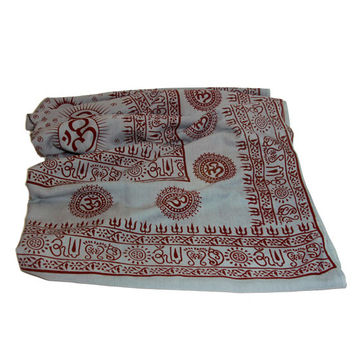 Meditation Yoga Prayer Shawl- Om - Grey Large