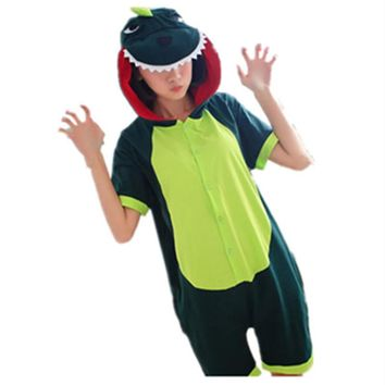 Cartoon Anime Green Dinosaur Cosplay Costume Summer Jumpsuit Short Sleeve Animal Godzilla Pajamas Onesuit Adult Child Sleepwear