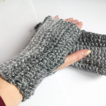 Basic Design Fingerless Mittens, Basic Design. Hand warmers Crocheted in Greys. .Accessories.Men, Women, Winter Warmers,