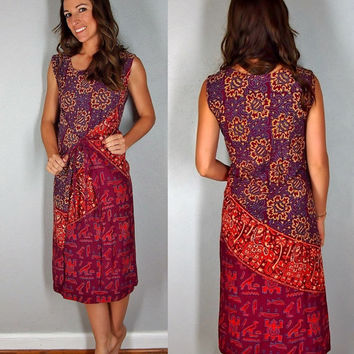 Multi Way Dress, Goddess Indian Pattern Cotton Fabric, Free Size, Boho Hippie Gypsy Oversized Baggy Dress
