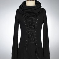 Corseted Scarf Neck Long Sleeved Tee JX8