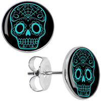 Black Turquoise Sugar Skull Stud Earrings | Body Candy Body Jewelry
