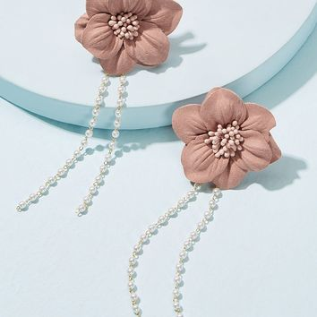 Dangling Beaded Chain Flower Stud Earrings 1pair