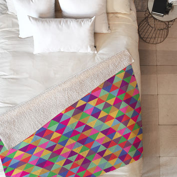 Bianca Green In Love With Triangles Fleece Throw Blanket
