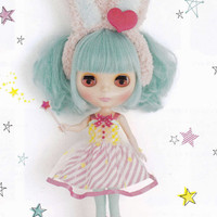 Kenner/ Neo Blythe 22cm dolls Kawaii Bunny Ears Fairy Girl Dress and socks set pdf E PATTERN in Japanese and Pieces Titles in English