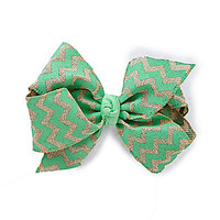 Copper Key Chevron Burlap King Bow