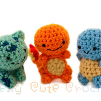 Kanto Starter Pokemon Set Amigurumi - MADE TO ORDER