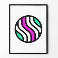 Neon Circle Wall Art, Geometric Print, Black and White, Colorful, Pink, Green, wall decor, inspirational, abstract art, lined