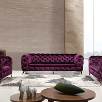Divani Casa Delilah Modern Purple Fabric Sofa Set