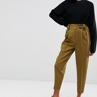 ASOS Tailored Peg Pants with Tab and Buckle Detail at asos.com