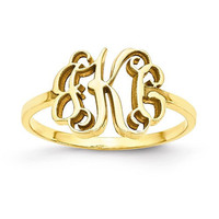 Yellow Gold Laser Polished Monogram Ring