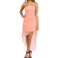 Coral Jeweled Hi Lo Hem Dress