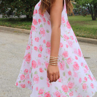 Coming Up Roses Off White Floral Chiffon Swing Dress