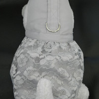 Light Powder Gray Lace & Satin Wedding Bridal Party Harness Dress. Perfect Item for your Cat, Dog or Ferret. All Items Are Custom Made.