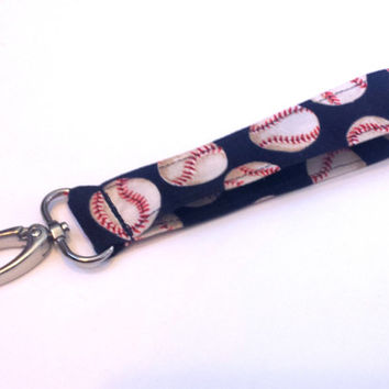 Baseball Lover Fabric Wristlet Mens or Womens Baseball Keychain Girls Fashion Wristlets Baseball Accessories Softball Wristlet or Key Fob
