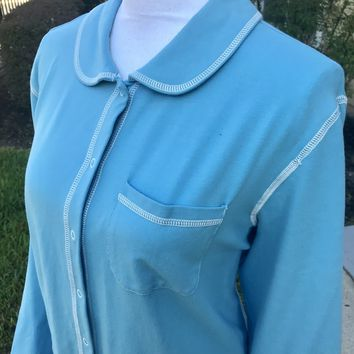 DENIM & CO Women's PLUS SIZE Blue Cotton Snap On Shirt Top, Size2X