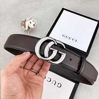 GUCCI New fashion letter buckle couple belt Coffee with box