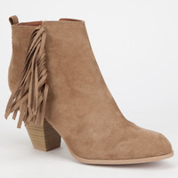 Qupid Salty Womens Booties Taupe  In Sizes