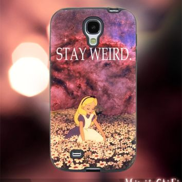 MC12Y,20,Alice in Wonderland,Stay Weird,Galaxy -Accessories case cellphone- Design for Samsung Galaxy S5 - Black case- Material Soft Rubber