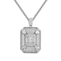 Sterling Silver Iced Out Medallion DogTag Pendant