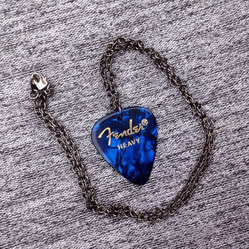 Fender Blue Guitar Pick Necklace