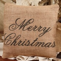 Merry Christmas - French Flea Market Burlap Accent Throw Pillow 8-in x 8-in