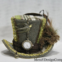 Olive Green Mini Top Hat, Steampunk Hat, Women Headpiece, Bridal Hat, Tea Party Hat, Mad Hatter Hat, Clock, Lock Victorian Ready To Ship
