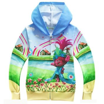 Kids Hoodies Trolls Jackets for Girls Clothes Children's Sweatshirts Cartoon Trolls Hoodies Boys Girls Tops Sports Wear