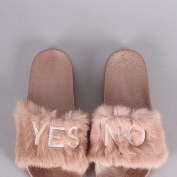 Embroidered Yes No Faux Fur Slide Sandal