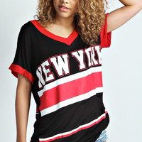 Aaliyah New York V Neck Oversized Tee