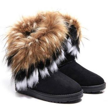 Faux Fur Design Snow PU Boots With Suede