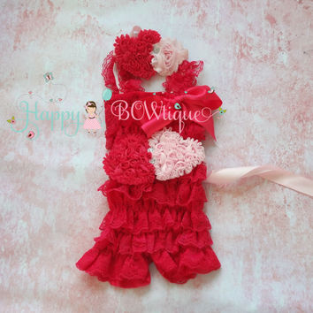 Valentine romper, Hot Pink hearts romper, Hot Pink romper set, Birthday outfit, baby girls outfit, Vantines Day, flower girl, baby romper,