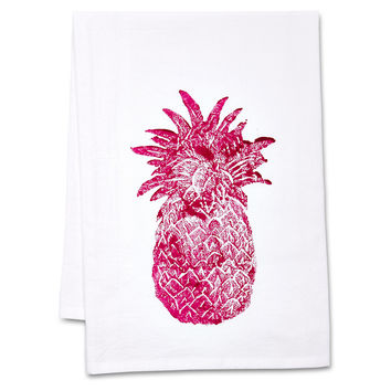 Pineapple Tea Towels, Hot Pink, Set of 2, Tea towels & Dishtowels