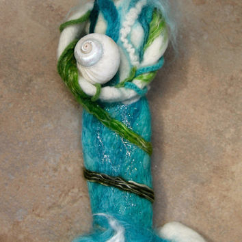 "Needle Felted Mermaid Doll or Figure 12"" Tall w/ Mohair and Silk w Octopus Friend (optional) Ocean Beach Decor"