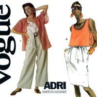 1980s Separates Pattern Uncut Bust 32 Vogue 2298 Adri Day or Evening Wide Leg Pants Crop Top Skirt and Jacket Womens Vintage Sewing Patterns