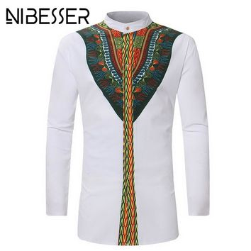 NIBESSER Vintage 2018 Men Ethnic Print top tees Long Sleeve Stand Collar African Print Dashiki Shirt Hip Hop white men clothing