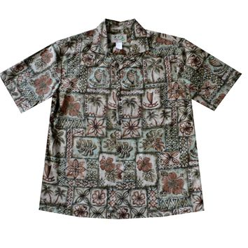 KY's Mens Green Button Down Hawaiian Shirt with Petroglyph Flowers