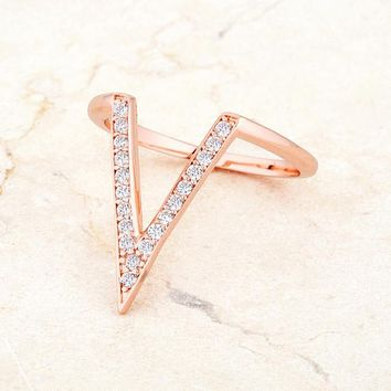 [R]-The Michelle Delicate V- Shape Ring- Rosegold