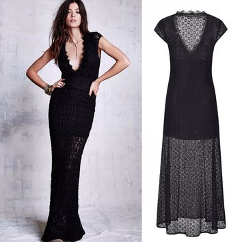 2018 Womens Sexy Elegant Vintage V-Neck Lace  Short Sleeve Body-con Evening Party Long Summer Dress Black Party Dresses