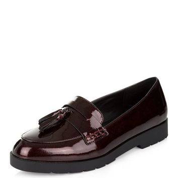 Dark Red Patent Loafers