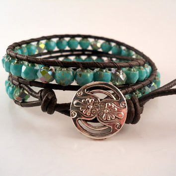 Leather Wrap Bracelet, Turquoise Double Wrap Bracelet, Chan Luu, PZW040
