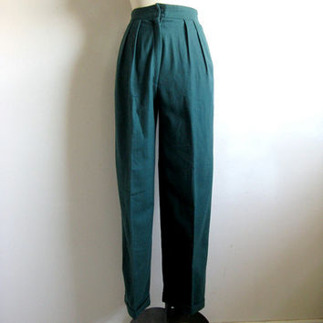 Vintage 1980s Wool Pants Forest Green Tailored Wool Blend Trouser Small