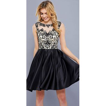 Black-Nude Beaded Top Illusion Bateau Neckline Short Prom Dress