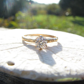 Classic Old Mine Cut Diamond Engagement Ring - Fiery Old Diamond - approx .50 to .63 carats - Fine Maker JR Wood