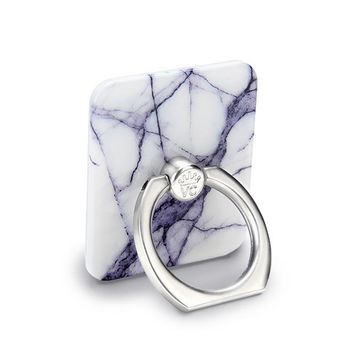 White Gray Marble Phone Ring