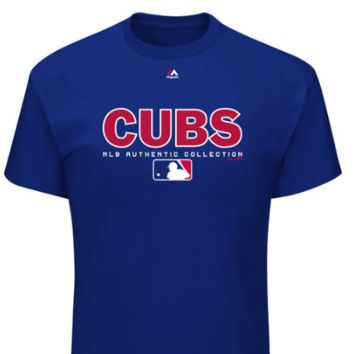 Youth Chicago Cubs Majestic Royal Authentic Collection Team Drive T-Shirt