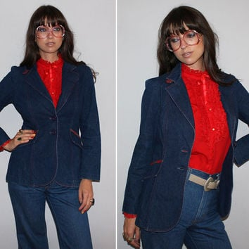 Vintage 70s DENIM JACKET / PLAID Accents, Red, Green, Yellow Tartan Plaid / Retro Jean Jacket, Denim Blazer / Pointy Collar / Small Med