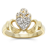 Goldplated-over-Sterling Silver Cubic Zirconia Irish Blessing Claddagh Ring